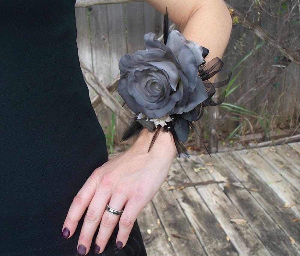 Halloween Zombie Prom Gray Rose Wrist Corsage