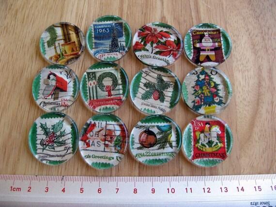 VINTAGE USA Christmas Postal Images Under Glass Mosaic Tiles Handmade Wafer Thin Egg Shaped