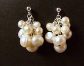 White freshwater pearls cluster earrings on sterling ball posts bridal, delicate, elegant