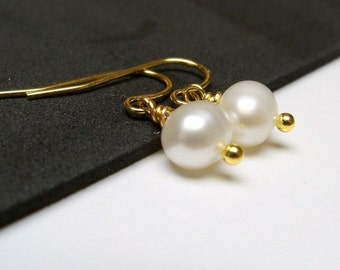Freshwater pearl earrings on gold plated surgical steel earwires