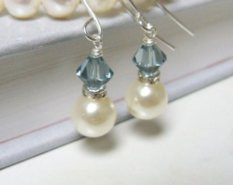 Swarovski blue crystal , silver rhinestone and Swarovski Cream pearl drop earrings on silver plated surgical steel earwires
