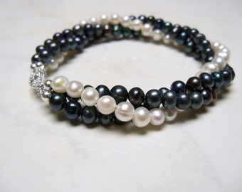 Black and white pearl bracelet Twisted freshwater pearl bracelet White and black multi strand freshwater pearls with antiqued silver clasp