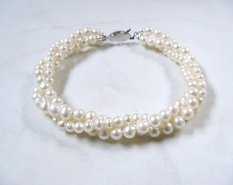 Triple strand Twisted pearl bracelet White freshwater pearl twisted bracelet multi strand with antiqued silver clasp