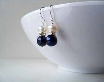 Navy freshwater pearl, rhinestone and white pearl drop earrings on silver plated surgical steel earwires