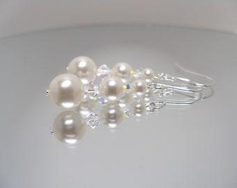 Swarovski white pearl earrings crystal pearl dangle earrings graduated size pearls