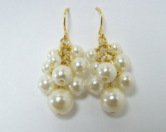 Ivory Pearl cluster earrings delicate, wedding, bridal, elegant dangling on 14k gold plated surgical steel for sensitive ears