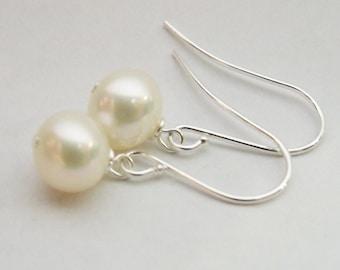 Custom Pearl earrings AAA grade Freshwater pearl drop earrings on silver plated surgical steel earwires bridesmaid gift