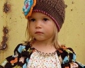 Little Miss Frilly  Crochet Hat Fall Back to SCHOOL  custom sizes 12 mths to preteen