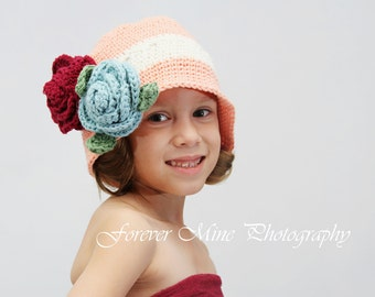 Little Miss Frilly Peach Flower Cloche available 12 months to adult