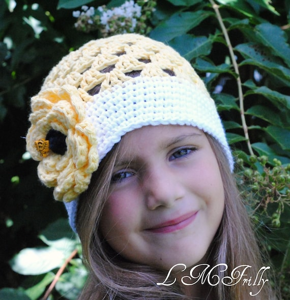 Little Miss Frilly crochet floral BEE hat SHIPPING SPECIAL