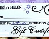 Gift Certificate, 15 Dollars