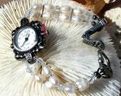 Gunmetal Watch, Swarovski and Pearl Jewelry W016