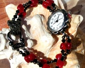 Gunmetal Watch, Candy Apple Red with Black Beads