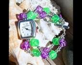 Silver Watch, Purple & Green Dice Jewelry