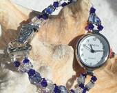Silver Watch, Swarovski Crystal Jewelry W041