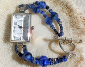 Silver Watch with Blue Beads Jewelry W029