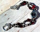 Silver Watch, Swarovski, Red Cathedral Jewelry W078