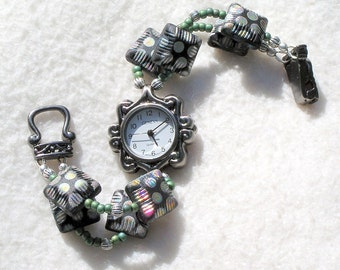Pewter Watch, Polka Dotted Beads Jewelry W014
