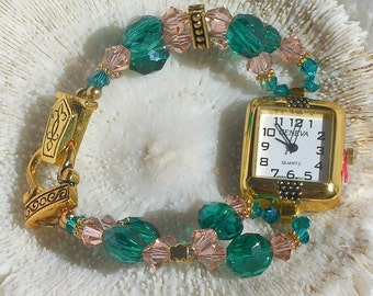 Gold Tone Watch, Swarovski and Peacock Green Beads Jewelry W040
