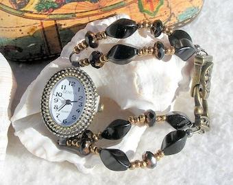 Antique Brass Watch, Black Beaded Jewelry W064