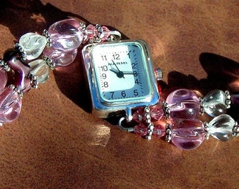 Silver Watch, Pink and Clear Glass Jewelry W002
