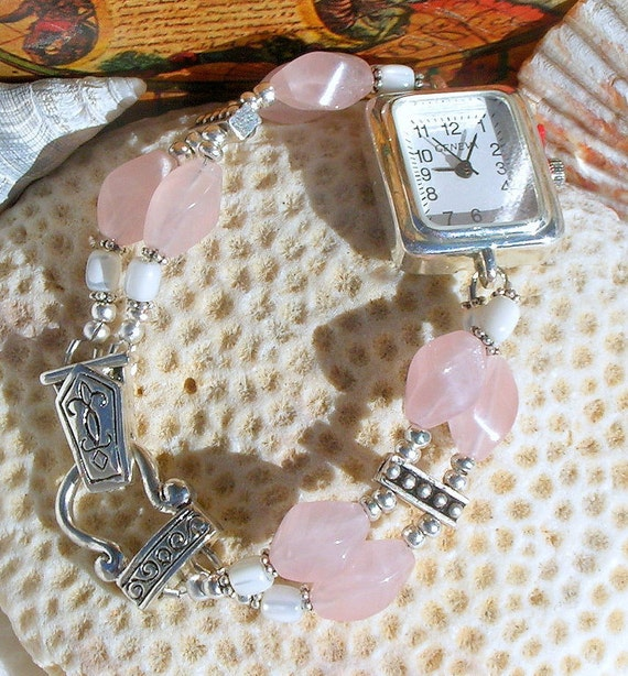 Silver Watch, Mother of Pearl, Rose Quartz Jewelry W012