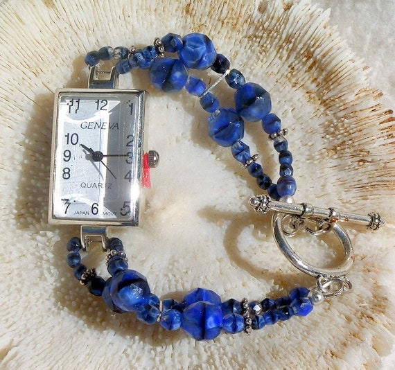 Silver Watch with Blue Beads Jewelry W029