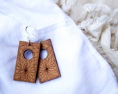 Square Array - recycled wood earrings in cherry & sterling silver