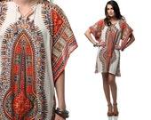 Dashiki 70s Dress Bell Sleeve  Caftan Beige Hippie Mini Tunic S M L Small Medium Large