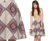 Hippie Mini Skirt 70s Scarf Print High Waisted Mod 1970s A Line Diamond Short Brown White Womens Retro Aline Skort Vintage Small Medium S M