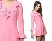 Pink Ruffle Dress 60s Mod Micro Mini 1960s Gogo Tuxedo Groovy Hippie Ruffled Sleeves Go Go Vintage MiniDress Small Medium S M