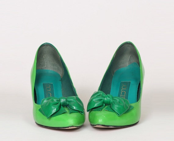 vintage 80s bright lime green bow high heel shoes 6 5