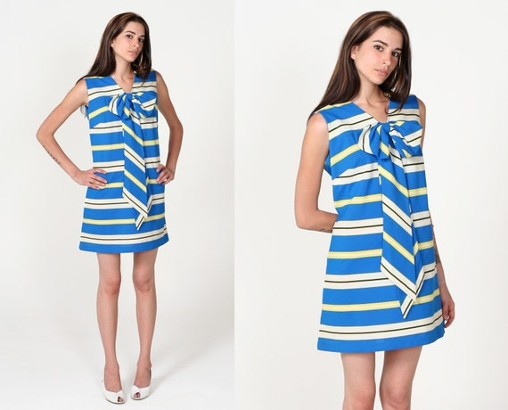 Vintage 60s Blue White Striped Bow Neck Mod Mini Dress M L
