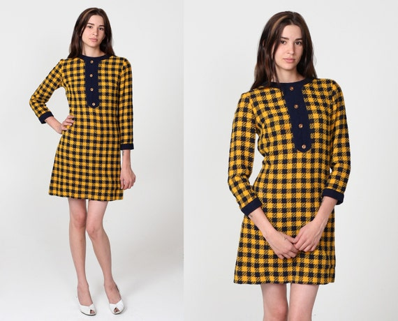 Vintage 60s Buffalo Plaid Flannel Yellow Tuxedo Button Mini Dress M L