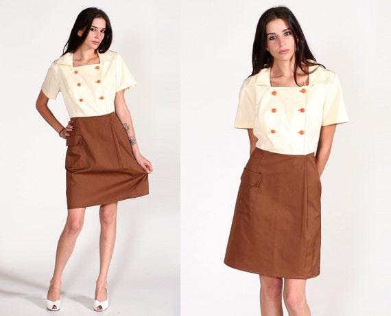 Vintage 70s Double Breasted Button Waitress Uniform Mini Dress