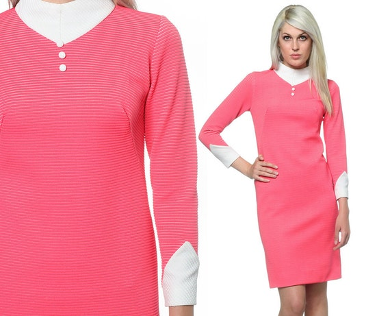 60s Dress Space Age Dress 1960s Mod Vintage Pink and White Go Go 70s Button Neck Long Sleeve Bodycon Color Block Mini Dress Extra Small XS