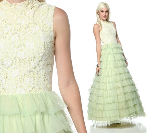 50s Party Dress Tiered Lace Ruffles Princess Cupcake Formal Prom Pastel Green Full Length Vintage 60s 1950s Gown Extra Small XS