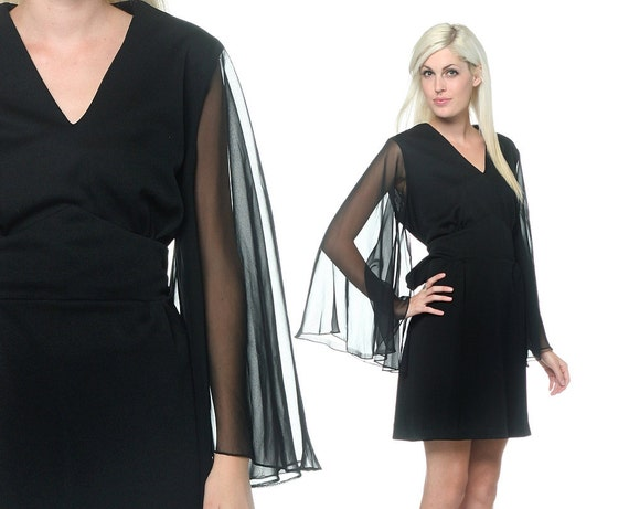 70s Disco Dress Angel Sleeve Plus Size Glam Party Black V Xl
