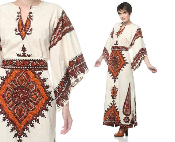 Ethnic Hippie Dress 1970s Maxi Bell Sleeve Boho Cotton Caftan Off White Paisley Dashiki Bohemian Vintage 70s Long Dress Large L