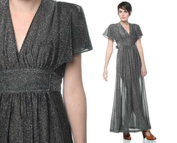 70s Maxi Metallic Dress Party Silver Flutter Sleeves 1970s Disco Goddess Deep V Sheer Pewter Lurex Glam Vintage Empire Waist Gown Small S