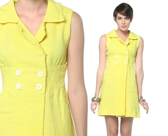 60s Yellow Babydoll Dress Wrap Mod Mini Double Breasted Button Up 1960s Empire Waist Collar Vintage Sleeveless Dress Extra Small XS