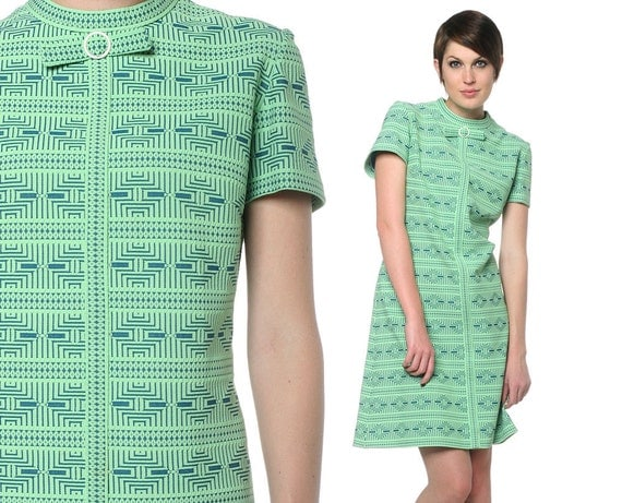 1960s Mod Dress Aztec Geometric Print Bow Neck 60s Mini Bright Lime Green Blue Twiggy Sixties Vintage Scooter Shift Dress Large L