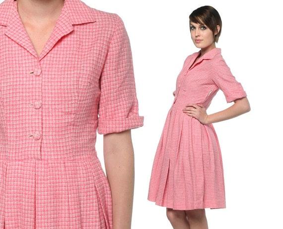 Pink 50s shirt dress checkered knit button up 1950s day 60s for Pink checkered dress shirt