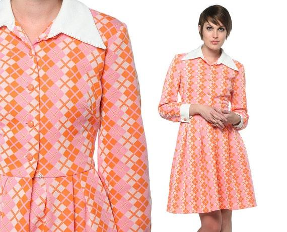 70s Babydoll Dress Argyle 60s Mini 1970s Dolly Pink Orange Mod Collar Button Up High Waist Vintage Long Sleeve Dress Small Medium S M