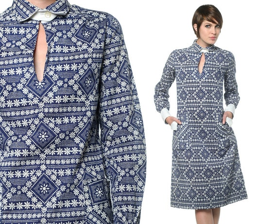 60s 70s Floral Dress Keyhole Mod Blue and White 1960s Shift Pockets Collared Cut Out Vintage Tunic Long Sleeve Midi Dress Large L