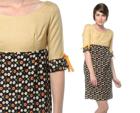 Mad Men 60s Dress Floral Mini 1960s Mod Yellow Black Empire Waist Sheath Bow Jackie O Vintage Scoop Neck Dress Small S