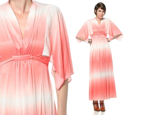 Ombre 70s Maxi Dress Flutter Sleeve Pink White 1970s Disco Empire Waist Deep V Draped Gradient Striped Vintage Dress Small Medium S M