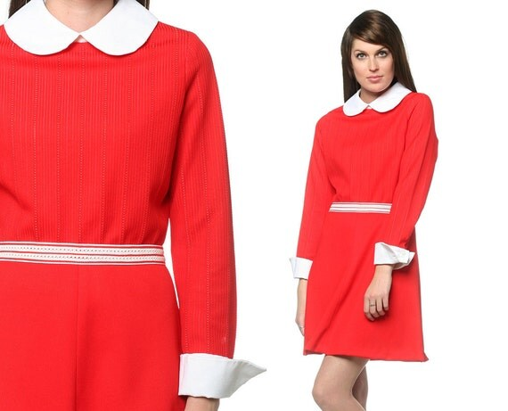 1960s Mini Dress Peter Pan Collar Mod 60s Dolly Red White High Waist Vintage 70s Babydoll Collared Long Sleeve Dress Small Medium S M