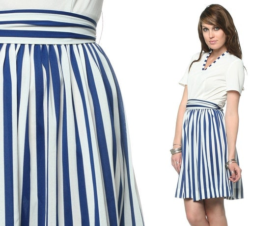 Mod Striped Dress 60s Mini Navy Blue and White 1960s Nautical V Neck High Waist Belted Short Sleeve Indie Preppy MiniDress Extra Small XS