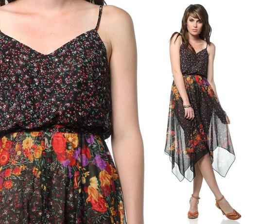 70s Sheer Floral Dress Black Boho Hippie Vintage Sun SCARF HEM 1970s Sundress Handkerchief Spaghetti Strap Bohemian Dress Extra Small XS S